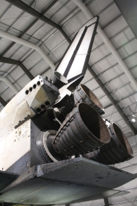 Back of the Endeavour space shuttle.
